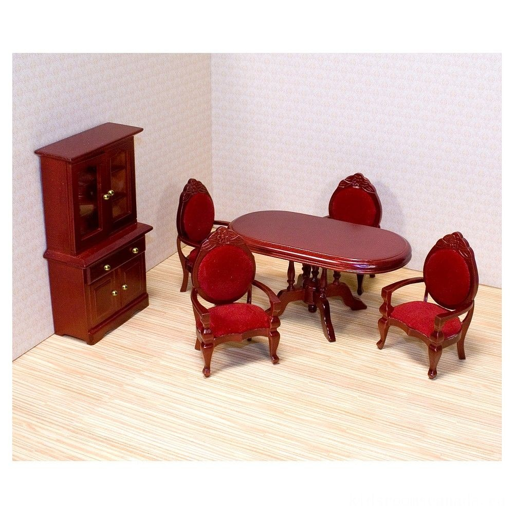 Black Friday 2020 - Melissa & Doug Classic Wooden Dollhouse Dining Room Furniture (6pc) - Table, Armchairs, Hutch
