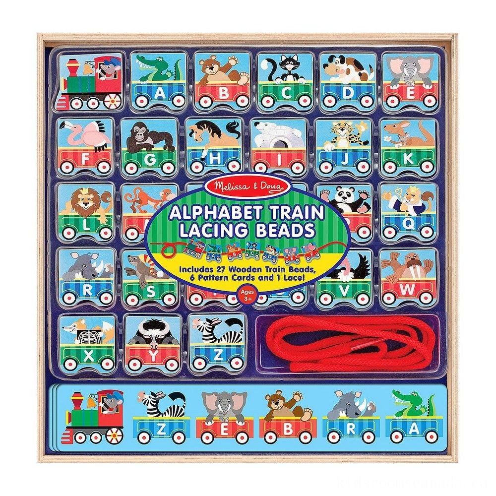 Black Friday 2020 - Melissa & Doug Alphabet Train Lacing Beads - 27 Wooden Train Beads, 6 Pattern Cards, and 1 Lace