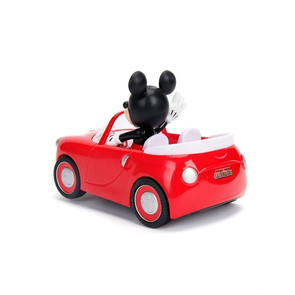 "Black Friday 2020 - Jada Toys Disney Junior RC Mickey Mouse Club House Roadster Remote Control Vehicle 7"" Glossy Red"