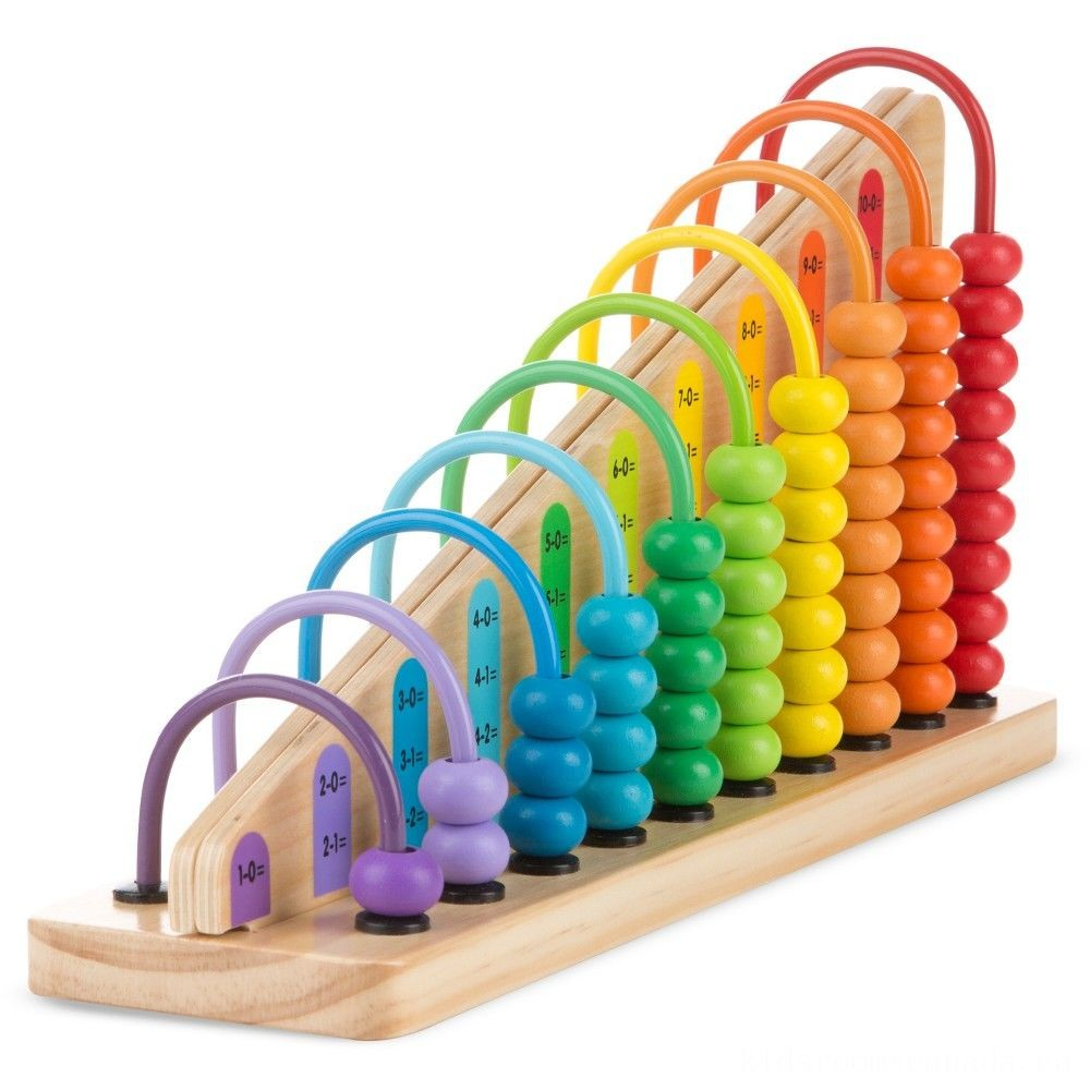 Melissa & Doug Add & Subtract Abacus - Educational Toy With 55 Colorful Beads and Sturdy Wooden Construction