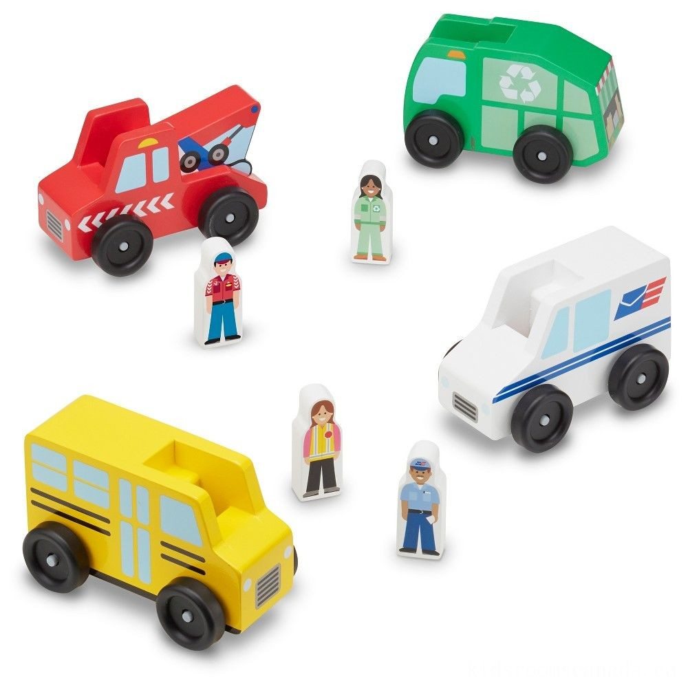 Black Friday 2020 - Melissa & Doug Community Vehicles Play Set - Classic Wooden Toy With 4 Vehicles and 4 Play Figures