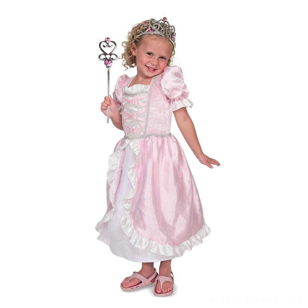 Black Friday 2020 - Melissa & Doug Princess Role Play Costume Set (3pc)- Pink Gown, Tiara, Wand, Women's, Size: Small