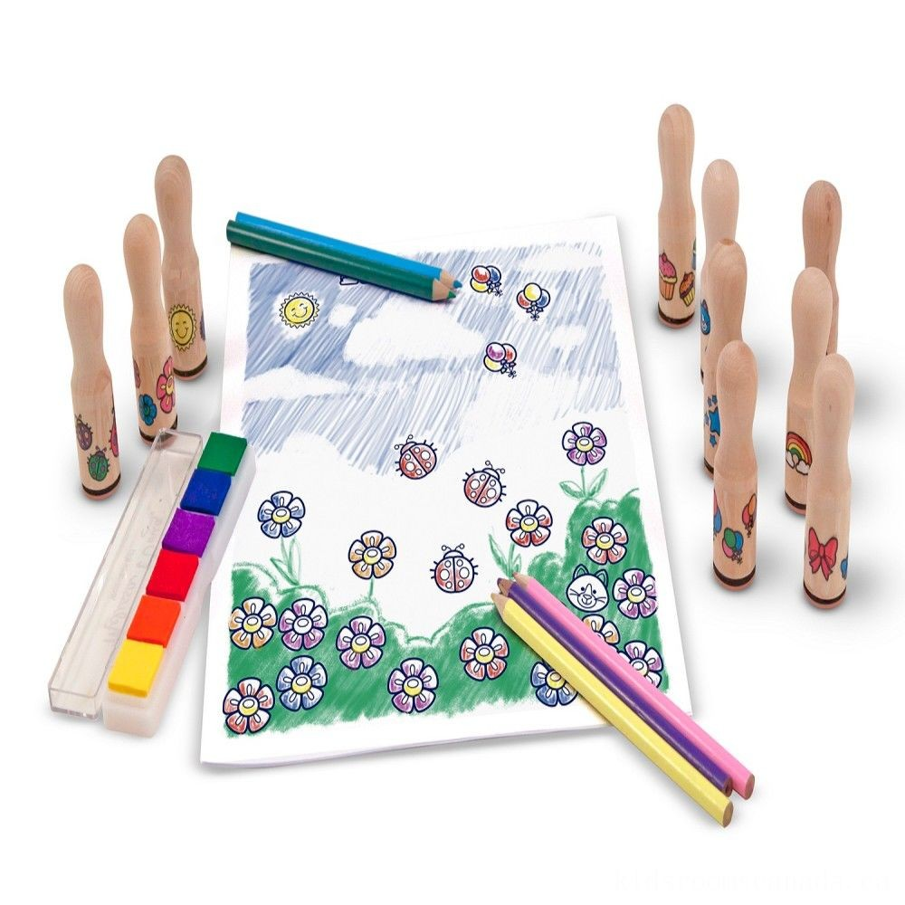 Black Friday 2020 - Melissa & Doug Deluxe Happy Handle Stamp Set With 10 Stamps, 5 Colored Pencils, and 6-Color Washable Ink Pad